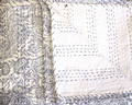 White & Blue Block Print Paisley Bed Cover